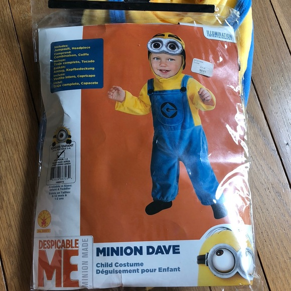 DESPICABLE ME 2 MINION DAVE CHILD HALLOWEEN COSTUME TODDLER GIRL SZ 1-2 YEARS